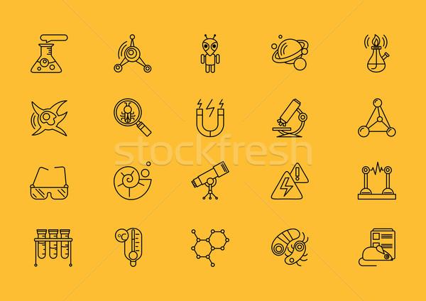 Symbolika zestaw linie nauki cienki Zdjęcia stock © robuart