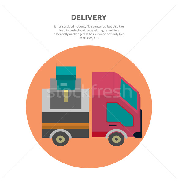 Delivery Lorry Driving Fast Design Flat Stock photo © robuart