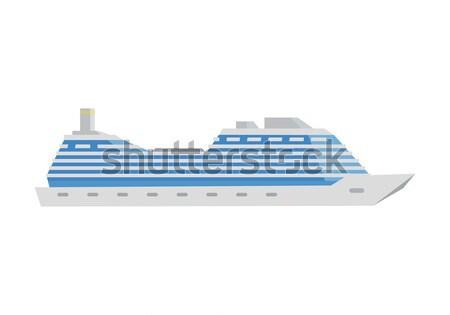 Blanche croisière bateau icône style isolé Photo stock © robuart