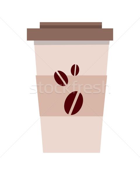 Jetable plastique tasse de café modèle isolé blanche Photo stock © robuart