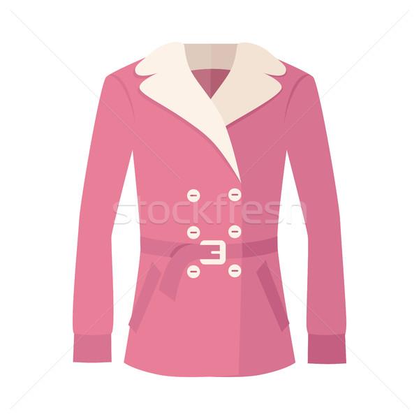 Women Double-Breasted Fur Jacket Isolated on White Stock photo © robuart