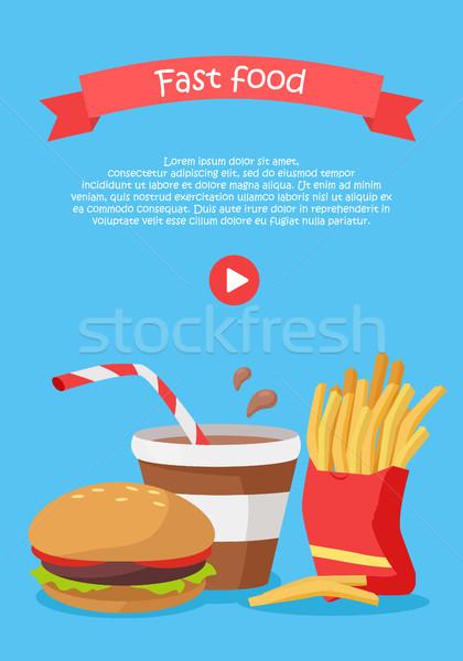 Fast food stijl vector web banner hamburger Stockfoto © robuart