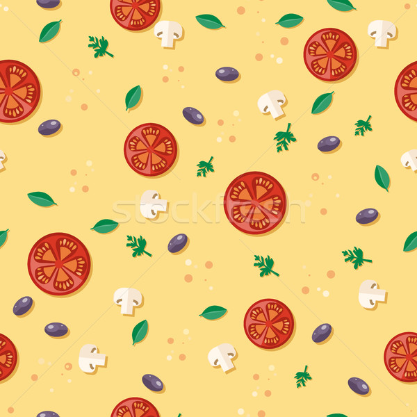 Seamless Pattern with Tomatoes, Olives, Mushrooms Stock photo © robuart