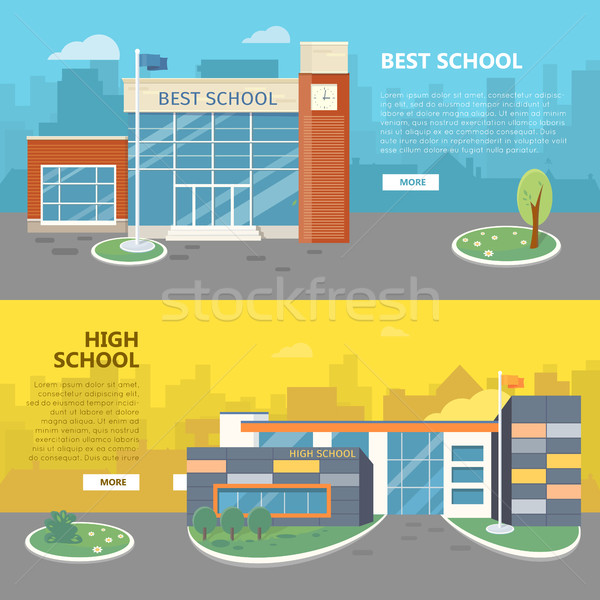 Best and High School Horizontal Vector Banners Stock photo © robuart