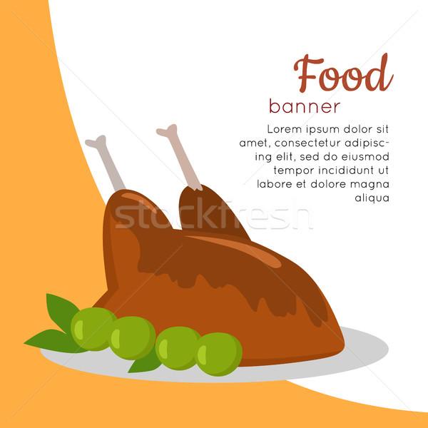 Alimentos banner a la parrilla delicioso pollo Foto stock © robuart