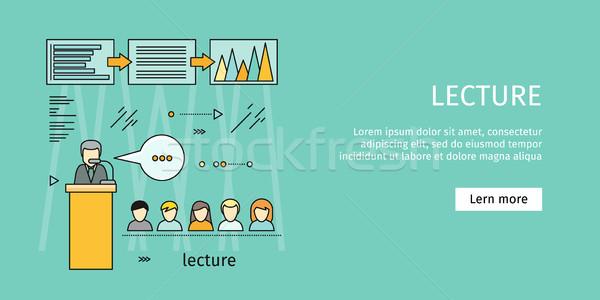 Foto stock: Negócio · palestra · bandeira · educação · oficina · treinamento