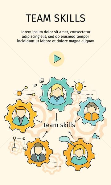Team vaardigheden banner avatar versnelling teambuilding Stockfoto © robuart