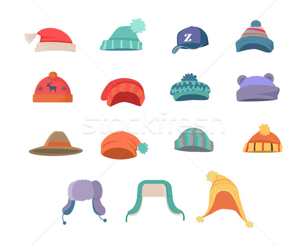 Set of Clothes for Cold Weather to Boys and Girls Stock photo © robuart