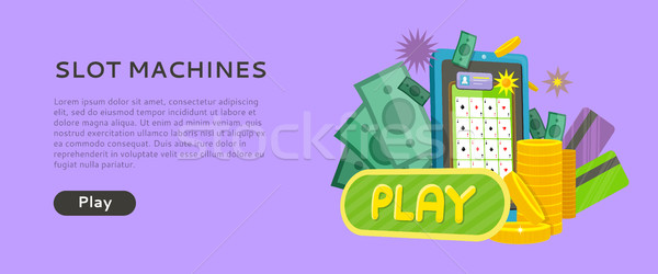 Slot Machine Web Banner Isolated with Play Button Stock photo © robuart
