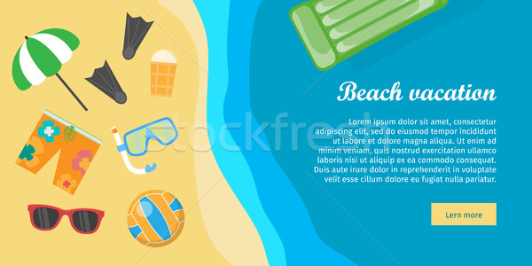 Beach Vacation Banner. Things Necessary for Rest. Stock photo © robuart