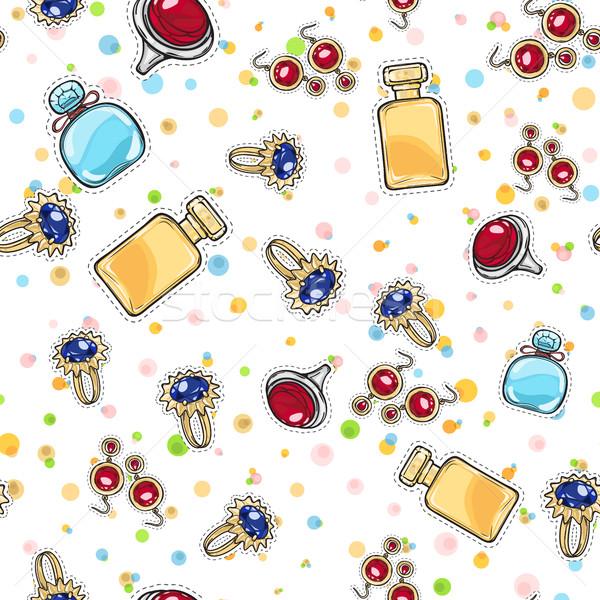 Jewelry for Women. Elite Perfume. Seamless Pattern Stock photo © robuart