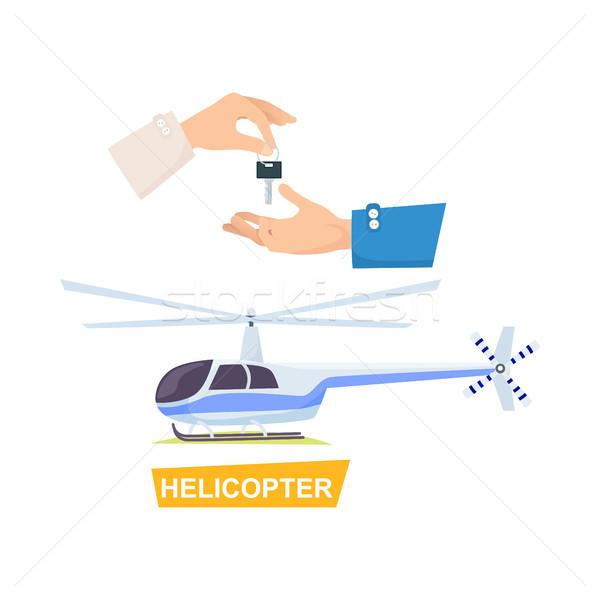 стороны ключевые процесс покупке вертолета вектора Сток-фото © robuart