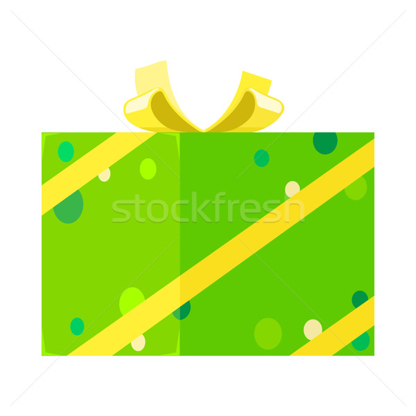 Isometric Present for Festivals in Green Dotted Paper Stock photo © robuart