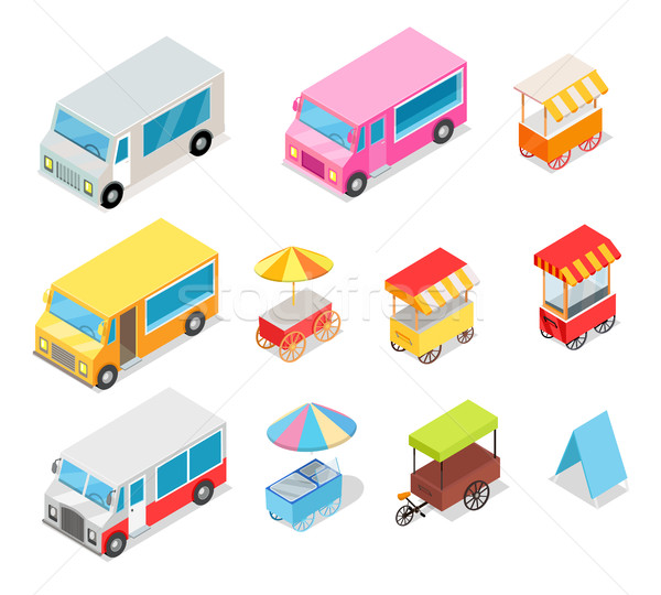 Minivan and Streetfood Stall Collection on White Stock photo © robuart
