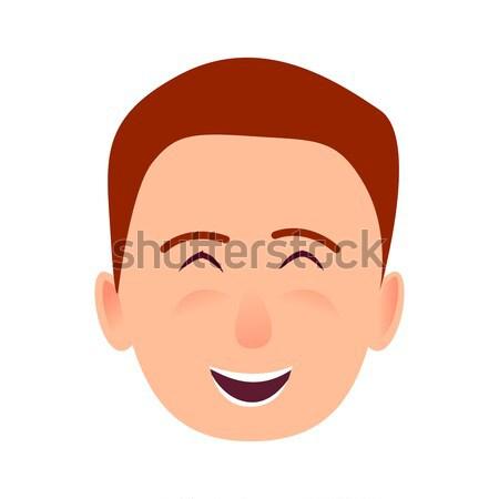 молодым человеком улыбающееся лицо вектора икона мальчика Сток-фото © robuart