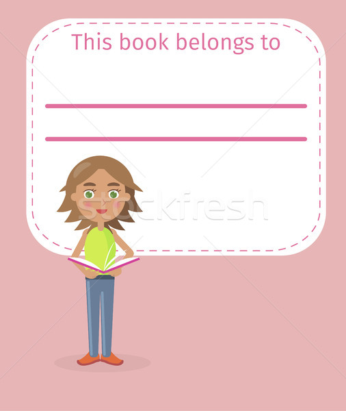 Stock photo: Girl Holds Book and Place for Signing Illustration