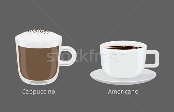 Cappuccino tasses de café illustration gris nom texte Photo stock © robuart
