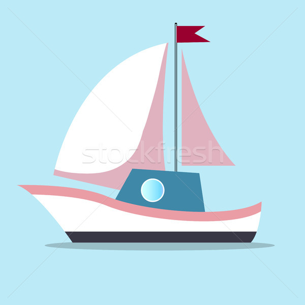 Boat with sails in white-pink color isolated on blue background Stock photo © robuart
