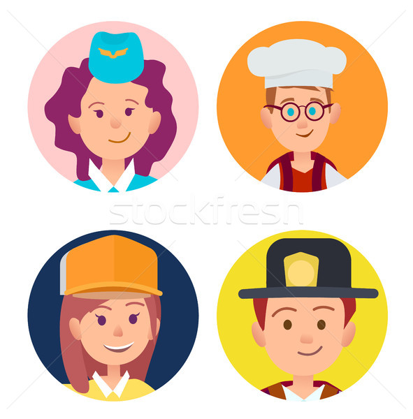 Four Icons of Children in Adult Occupations Flat Stock photo © robuart