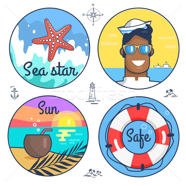 Collection of Multiple Marine Icons and Item Stock photo © robuart