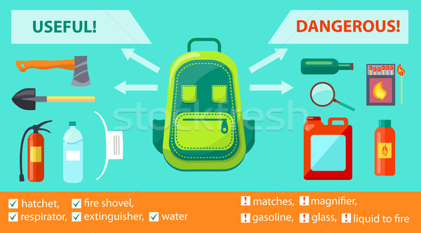 Useful Dangerous Objects on Fire-Related Poster Stock photo © robuart