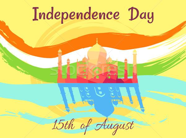 Indian giorno agosto poster bandiera colori Foto d'archivio © robuart