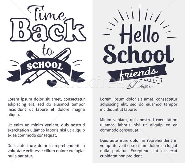 Terug naar school tijd sticker tekst witte hallo Stockfoto © robuart