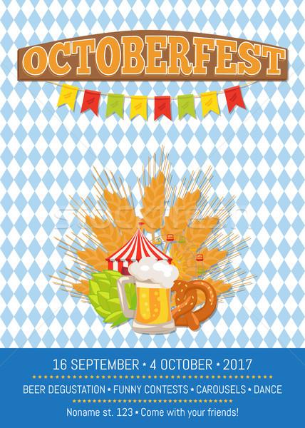 Oktoberfest poster vektör arka plan Stok fotoğraf © robuart