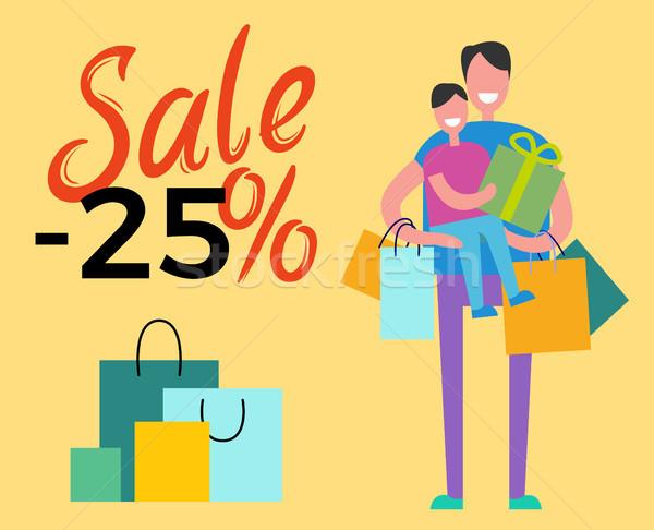 Verkoop 25 daddy zoon winkelen samen Stockfoto © robuart