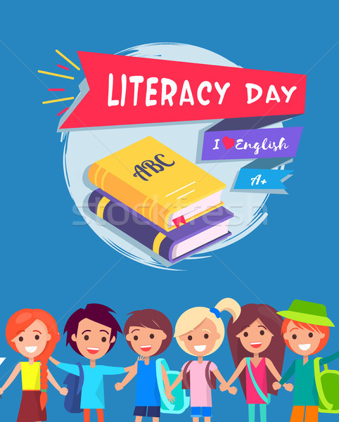 Literacy Day Postcard Vector Illustration Stock photo © robuart