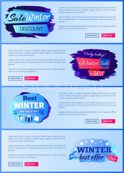 Sale Winter Discount Set on Vector Illustration Stock photo © robuart