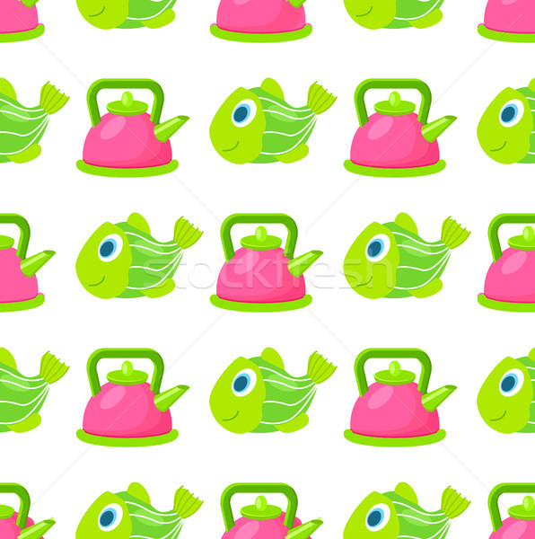 Toy Kettle and Fish Seamless Pattern Vector Stock photo © robuart