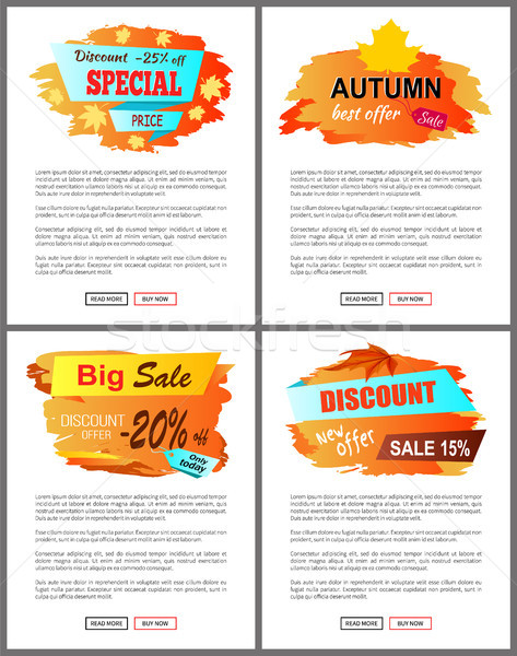 Special Offer Autumn Sale Posters Set Promo Advert Stock photo © robuart