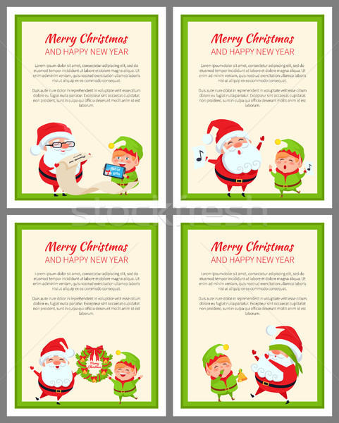 Four Merry Christmas and Happy New Year Cards Stock photo © robuart