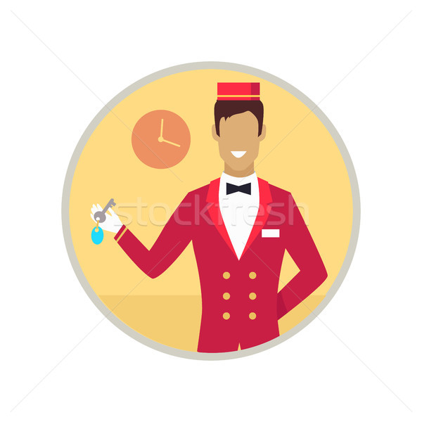 Hotel Receptionist with Key Vector Illustration Stock photo © robuart