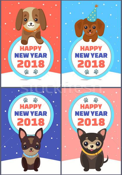 Happy New Year 2018 Congrats Vector Illustration Stock photo © robuart