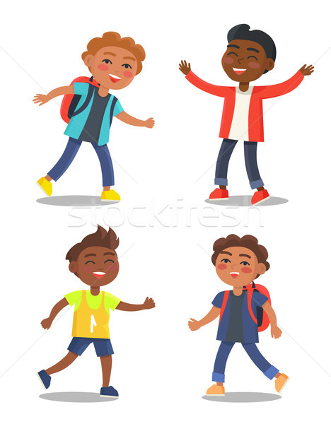 Set of Schoolchildren First Year Pupil with Bags Stock photo © robuart