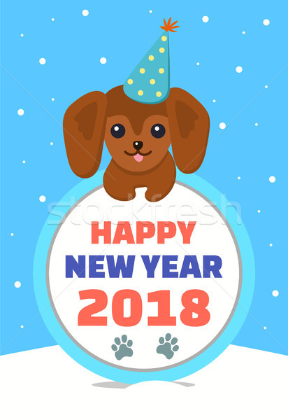 Happy New Year Dog in Hat Vector Illustration Stock photo © robuart