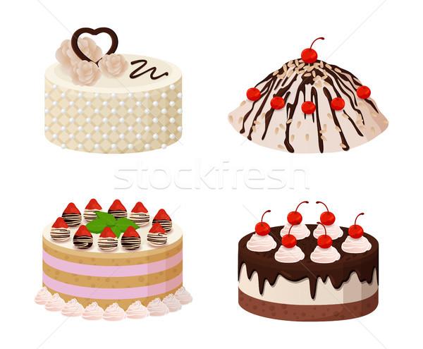甘い ベーカリー コレクション ポスター ケーキ クリーム ストックフォト © robuart