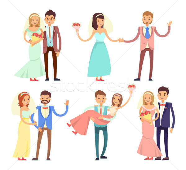 Newlyweds Dancing and Have Fun Vector Illustration Stock photo © robuart