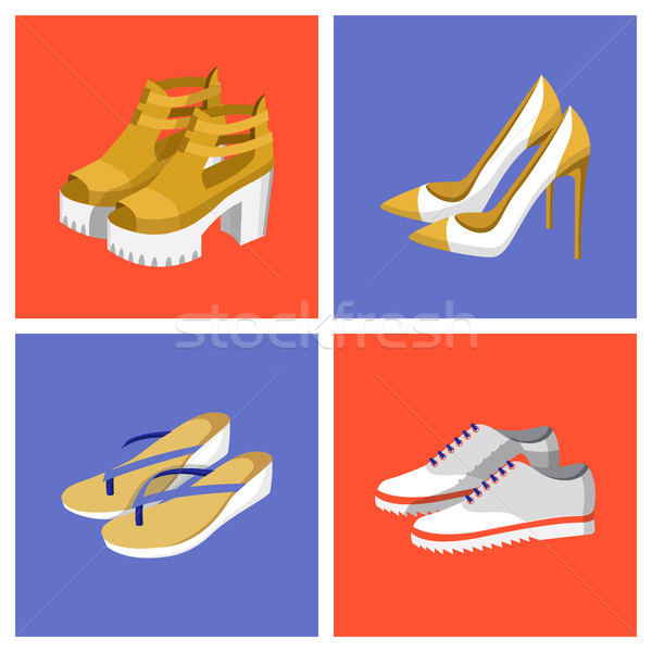 Summer Mode Shoes Set Poster Vector Illustration Stock photo © robuart