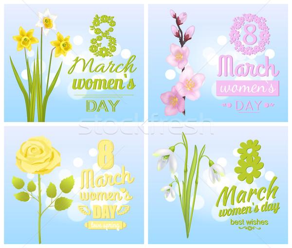 Stockfoto: Groet · kaarten · ontwerp · bloemen · lentebloemen