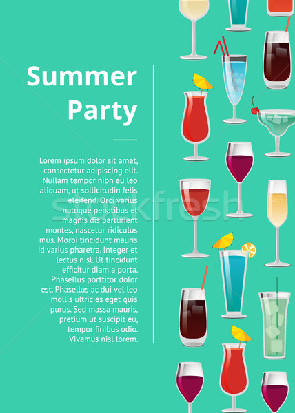 Stockfoto: Zomer · partij · poster · tekst · ingesteld · cocktails