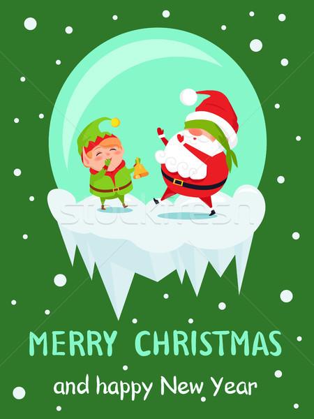 Postcard Merry Christmas Happy New Year Santa Elf Stock photo © robuart