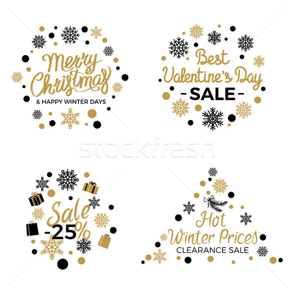 Christmas and Valentines Winter Sale Signs Poster Stock photo © robuart