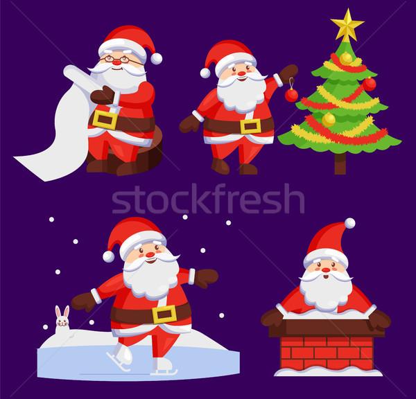 Santa Clauses Set icons Vector Snow Chimney Tree Stock photo © robuart