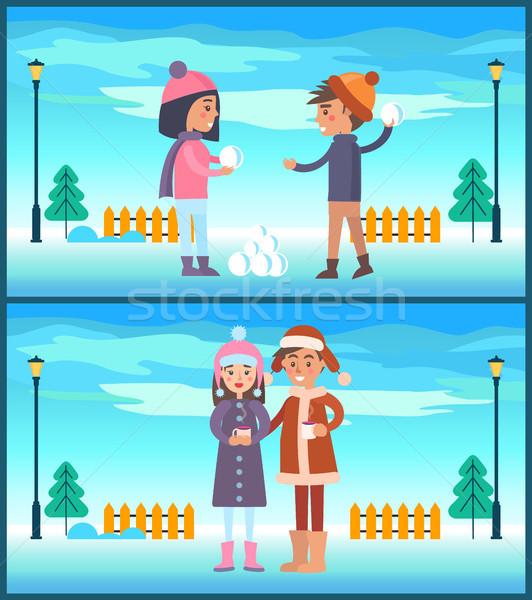 少女 再生 カップル ドリンク コーヒー ストックフォト © robuart