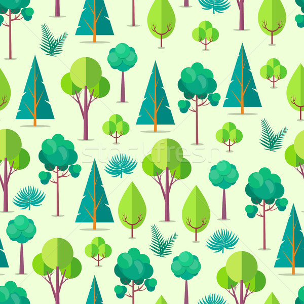 Seamless Pattern with Trees and Bushes Vector Stock photo © robuart