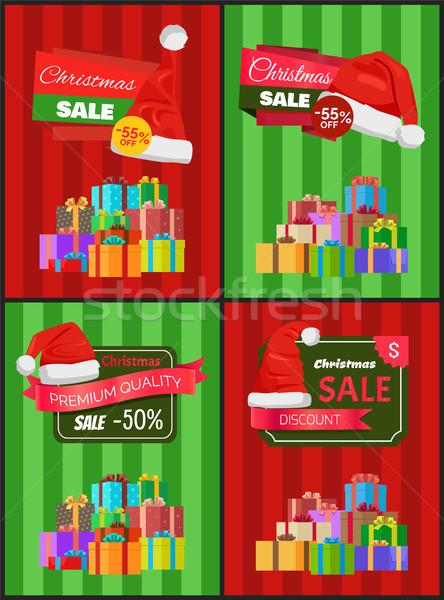Karácsony ár csökkentés hirdetés bannerek dobozok Stock fotó © robuart