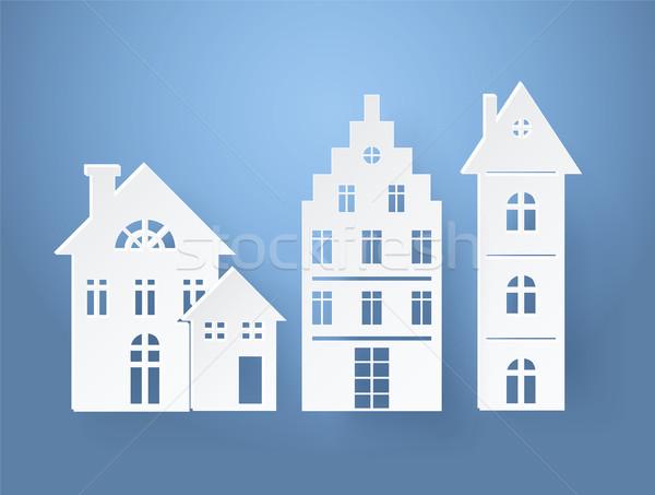 Foto stock: Papel · silhuetas · edifícios · isolado · luz · azul · árvore